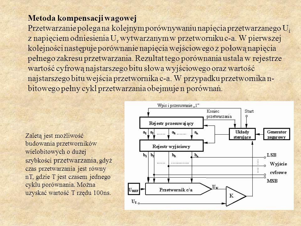 Metoda kompensacji wagowej Przetwarzanie polega na kolejnym porównywaniu napięcia przetwarzanego Ui z napięciem odniesienia Ur wytwarzanym w przetworniku c-a. W pierwszej kolejności następuje porównanie napięcia wejściowego z połową napięcia pełnego zakresu przetwarzania. Rezultat tego porównania ustala w rejestrze wartość cyfrową najstarszego bitu słowa wyjściowego oraz wartość najstarszego bitu wejścia przetwornika c-a. W przypadku przetwornika n- bitowego pełny cykl przetwarzania obejmuje n porównań.
