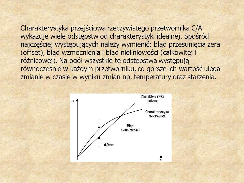 Charakterystyka przejściowa rzeczywistego przetwornika C/A wykazuje wiele odstępstw od charakterystyki idealnej.