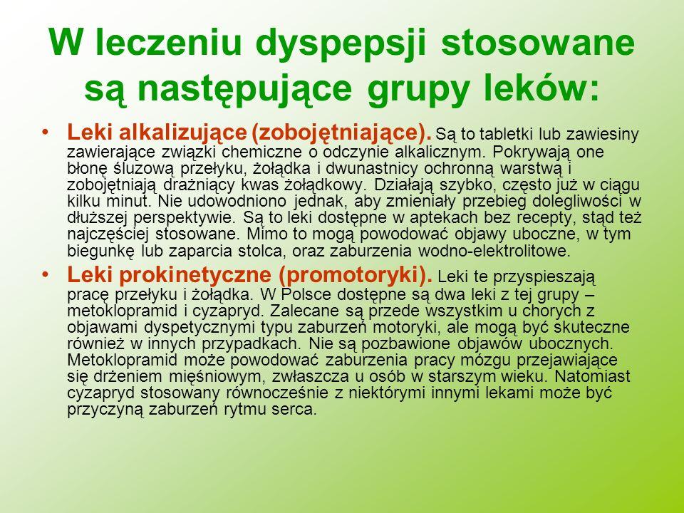 W leczeniu dyspepsji stosowane są następujące grupy leków: