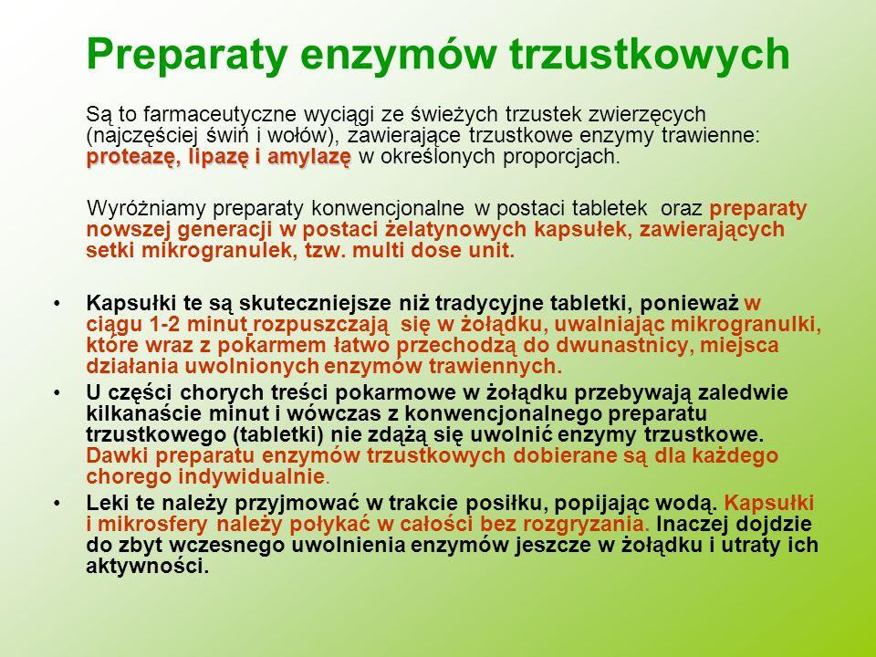 Preparaty enzymów trzustkowych