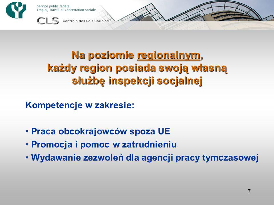 Na poziomie regionalnym, każdy region posiada swoją własną służbę inspekcji socjalnej