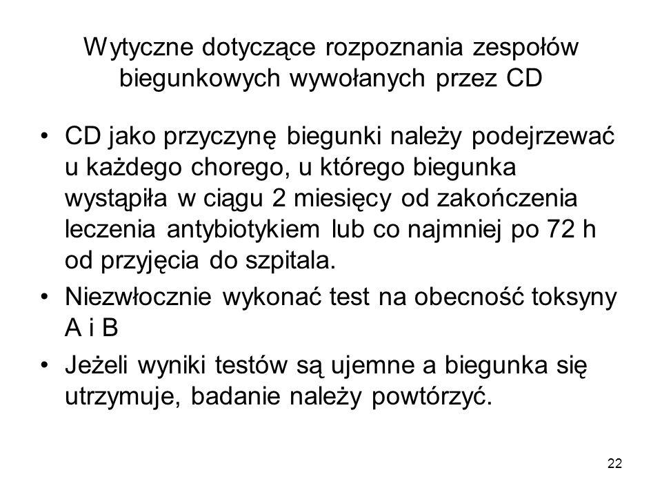 Wytyczne dotyczące rozpoznania zespołów biegunkowych wywołanych przez CD
