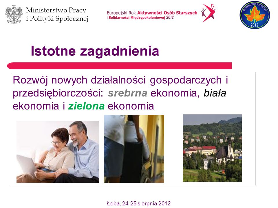 Istotne zagadnieniaRozwój nowych działalności gospodarczych i przedsiębiorczości: srebrna ekonomia, biała ekonomia i zielona ekonomia.