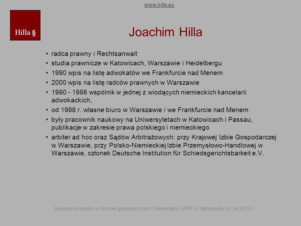 Joachim Hilla Hilla § radca prawny i Rechtsanwalt