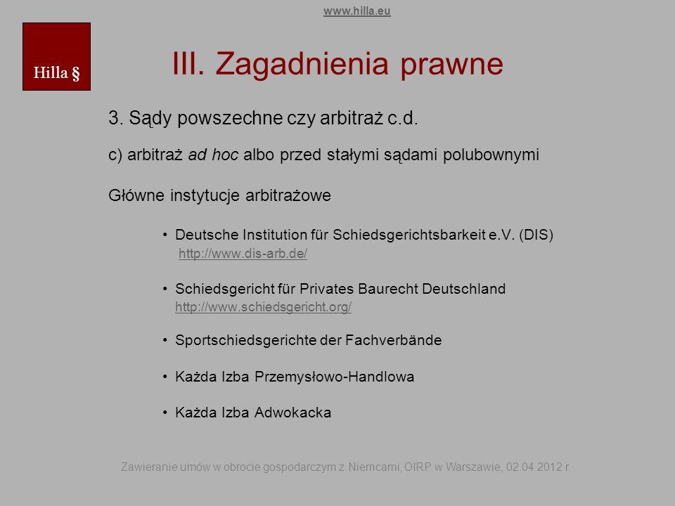 III. Zagadnienia prawne