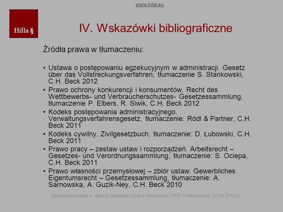 IV. Wskazówki bibliograficzne