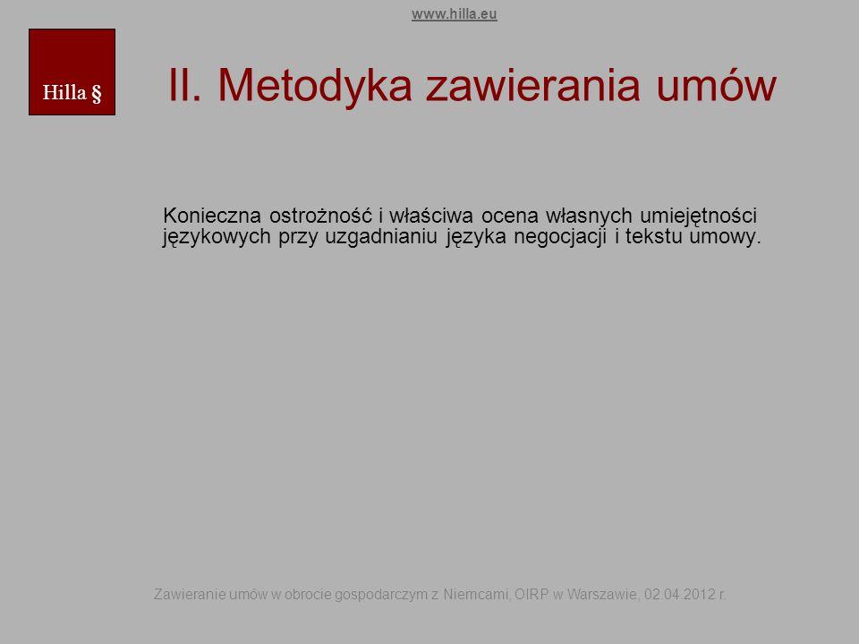 II. Metodyka zawierania umów
