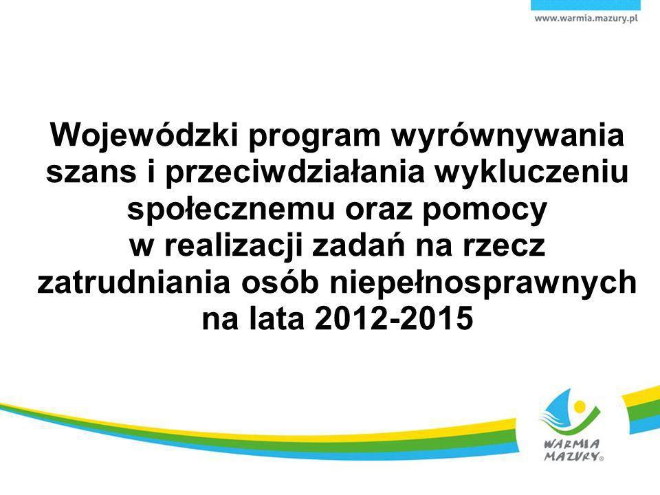 Wojewódzki program wyrównywania szans i przeciwdziałania wykluczeniu społecznemu oraz pomocy w realizacji zadań na rzecz zatrudniania osób niepełnosprawnych na lata 2012-2015