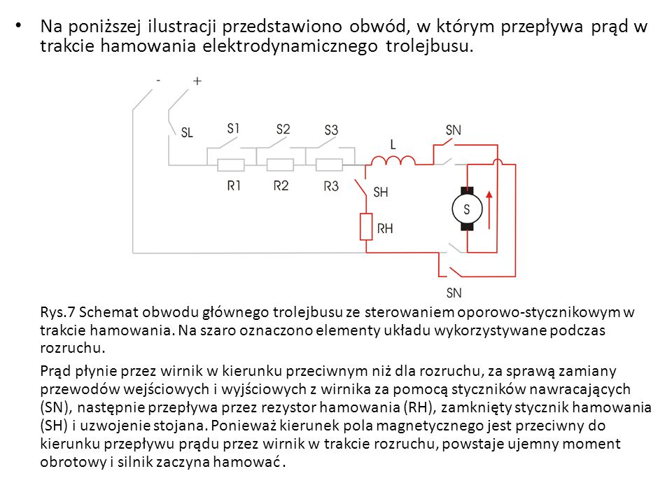 Na poniższej ilustracji przedstawiono obwód, w którym przepływa prąd w trakcie hamowania elektrodynamicznego trolejbusu.