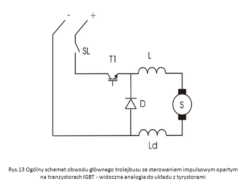 Rys.13 Ogólny schemat obwodu głównego trolejbusu ze sterowaniem impulsowym opartym na tranzystorach IGBT - widoczna analogia do układu z tyrystorami