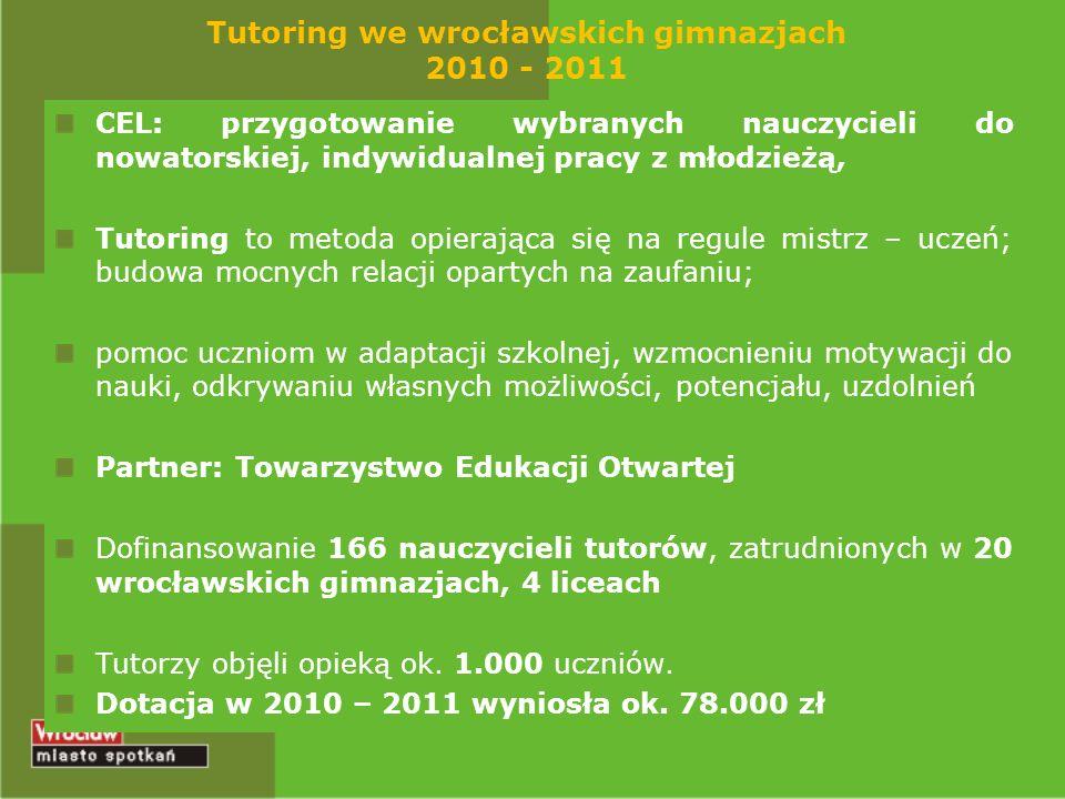 Tutoring we wrocławskich gimnazjach 2010 - 2011