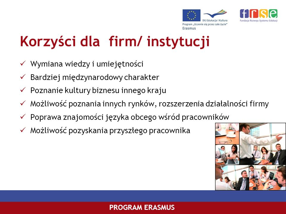 Korzyści dla firm/ instytucji