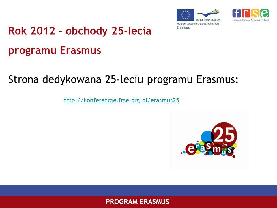 Rok 2012 – obchody 25-lecia programu Erasmus Strona dedykowana 25-leciu programu Erasmus: http://konferencje.frse.org.pl/erasmus25
