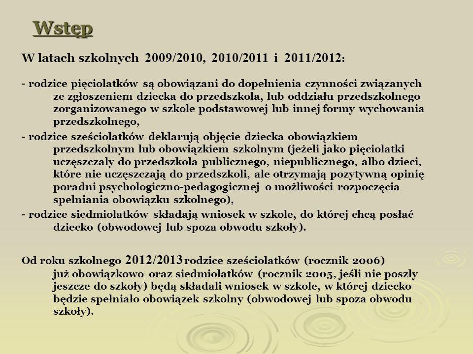 Wstęp W latach szkolnych 2009/2010, 2010/2011 i 2011/2012: