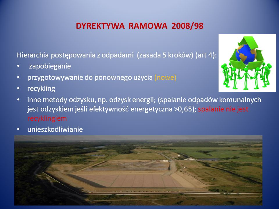 DYREKTYWA RAMOWA 2008/98 Hierarchia postępowania z odpadami (zasada 5 kroków) (art 4): zapobieganie.