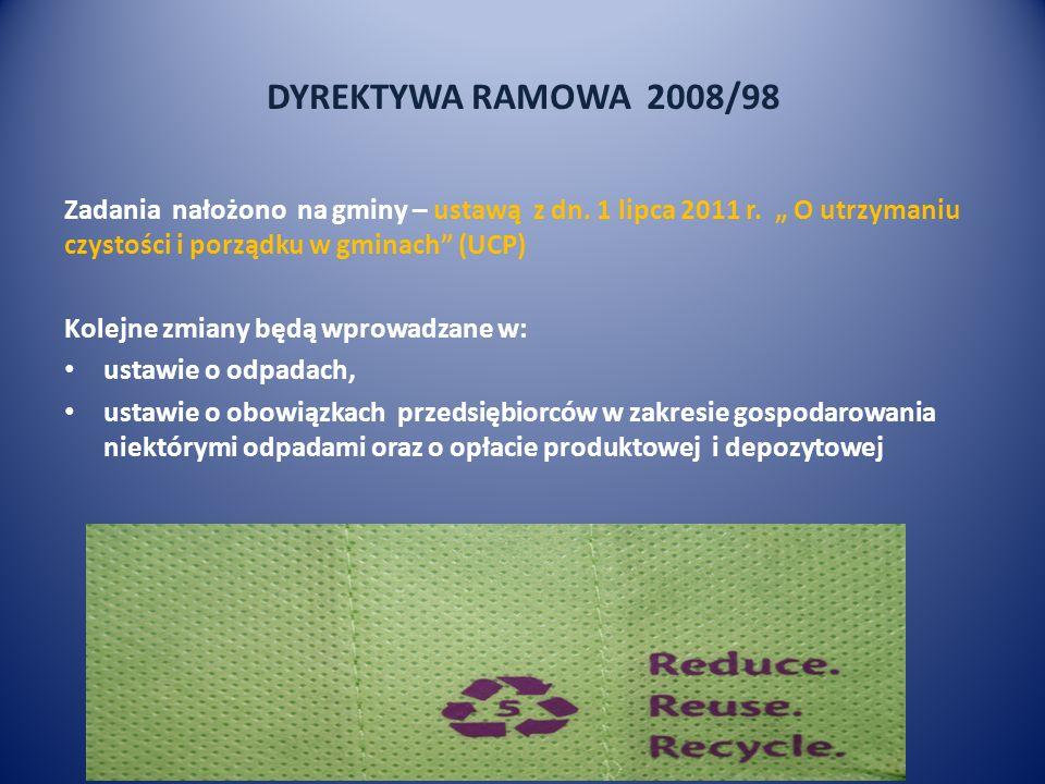"""DYREKTYWA RAMOWA 2008/98 Zadania nałożono na gminy – ustawą z dn. 1 lipca 2011 r. """" O utrzymaniu czystości i porządku w gminach (UCP)"""