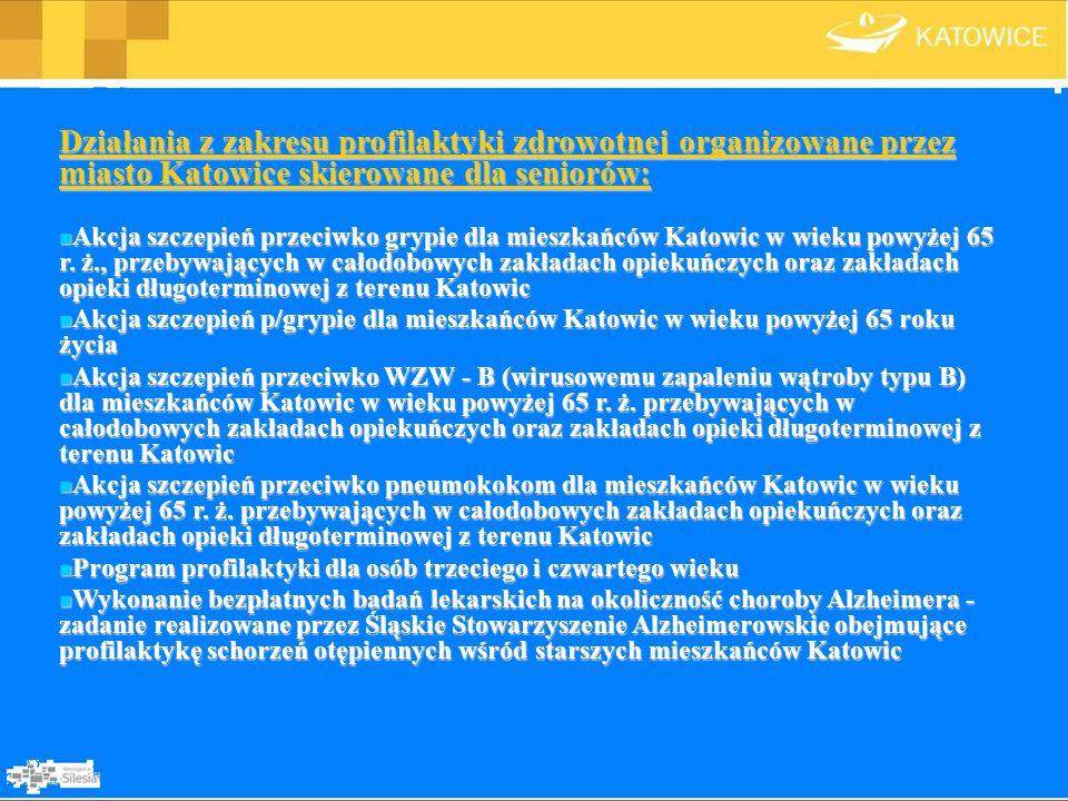 Działania z zakresu profilaktyki zdrowotnej organizowane przez miasto Katowice skierowane dla seniorów:
