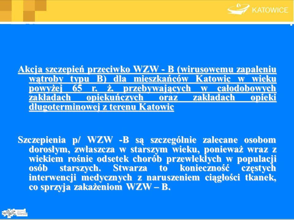 Akcja szczepień przeciwko WZW - B (wirusowemu zapaleniu wątroby typu B) dla mieszkańców Katowic w wieku powyżej 65 r. ż. przebywających w całodobowych zakładach opiekuńczych oraz zakładach opieki długoterminowej z terenu Katowic