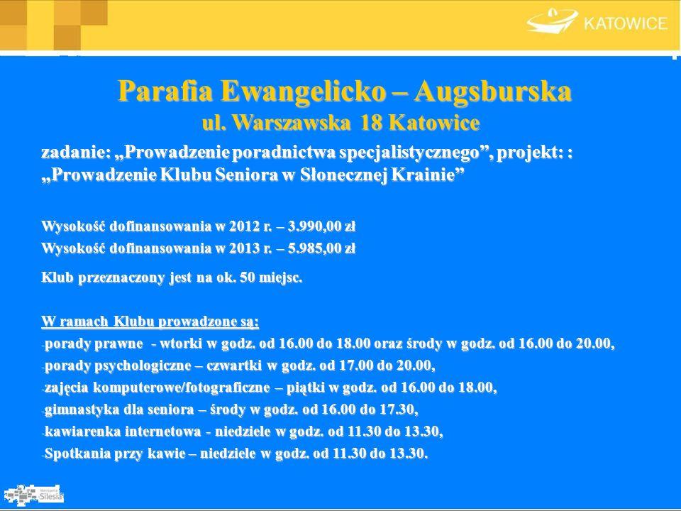 Parafia Ewangelicko – Augsburska ul. Warszawska 18 Katowice