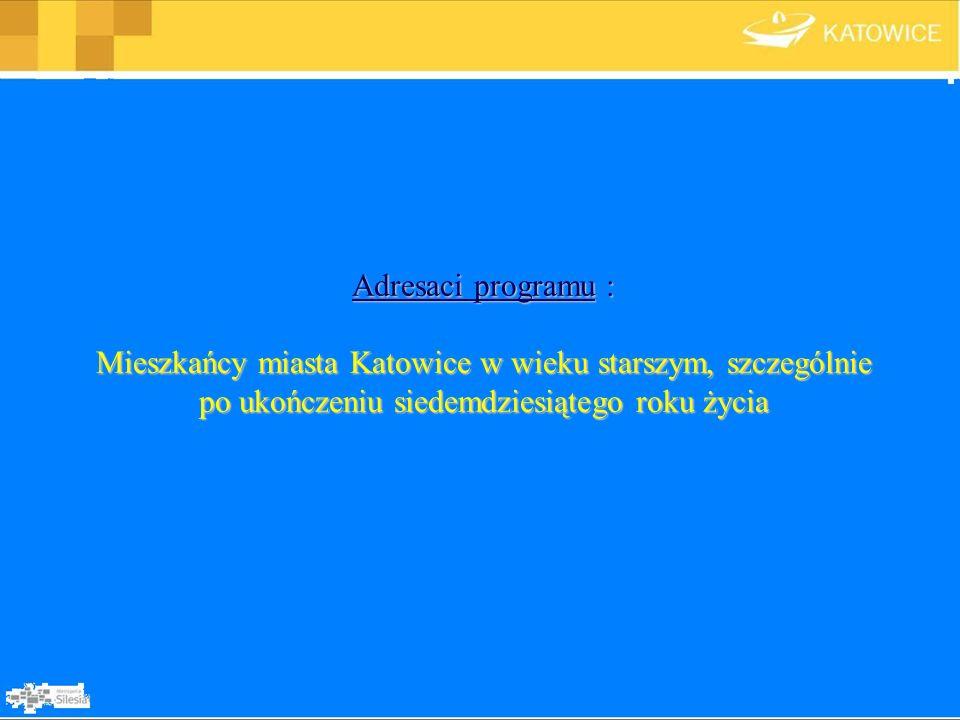 Adresaci programu : Mieszkańcy miasta Katowice w wieku starszym, szczególnie po ukończeniu siedemdziesiątego roku życia