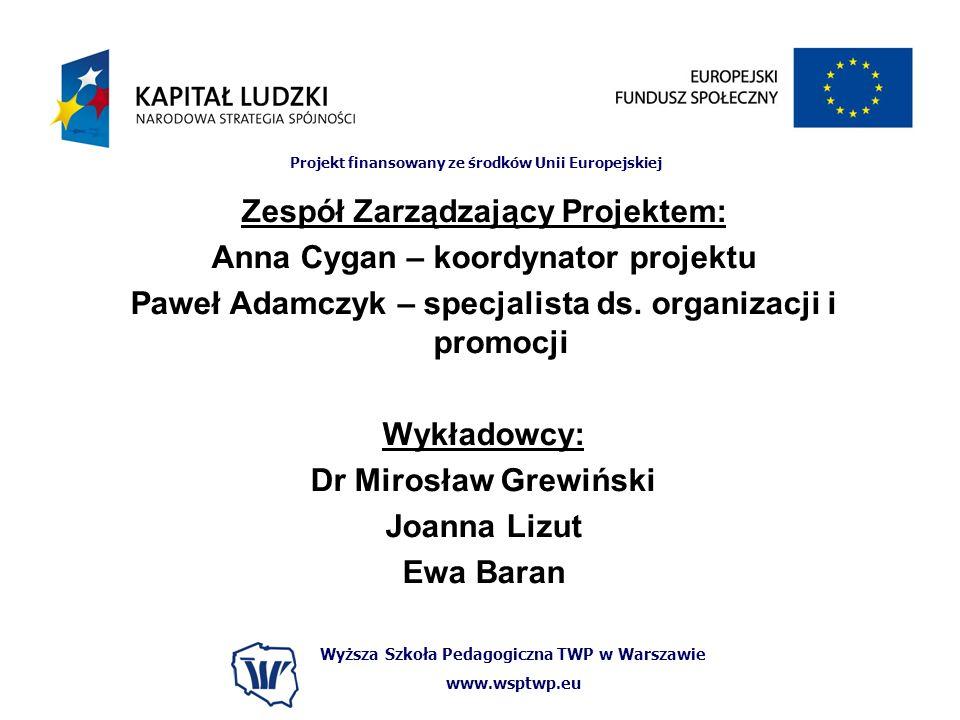 Zespół Zarządzający Projektem: Anna Cygan – koordynator projektu