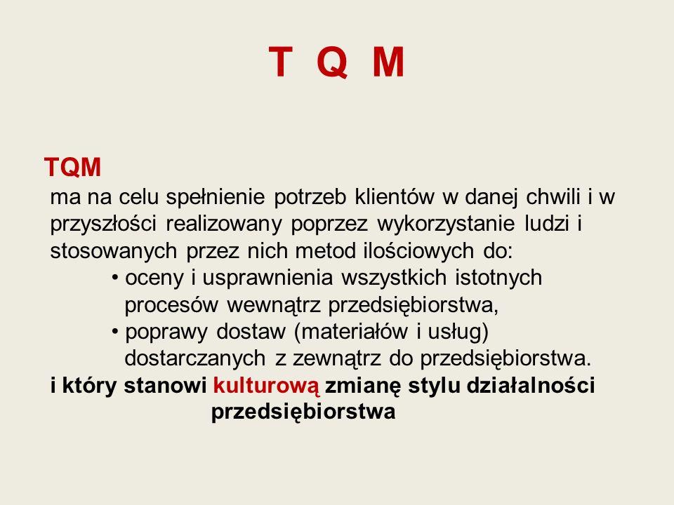 T Q M TQM ma na celu spełnienie potrzeb klientów w danej chwili i w
