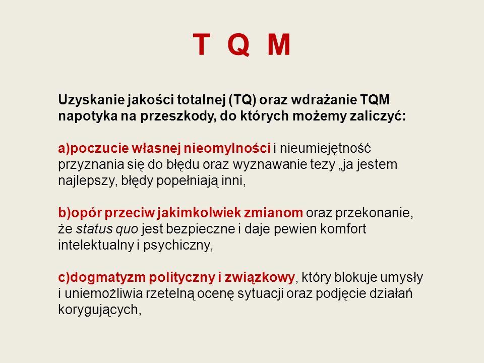 T Q M Uzyskanie jakości totalnej (TQ) oraz wdrażanie TQM napotyka na przeszkody, do których możemy zaliczyć:
