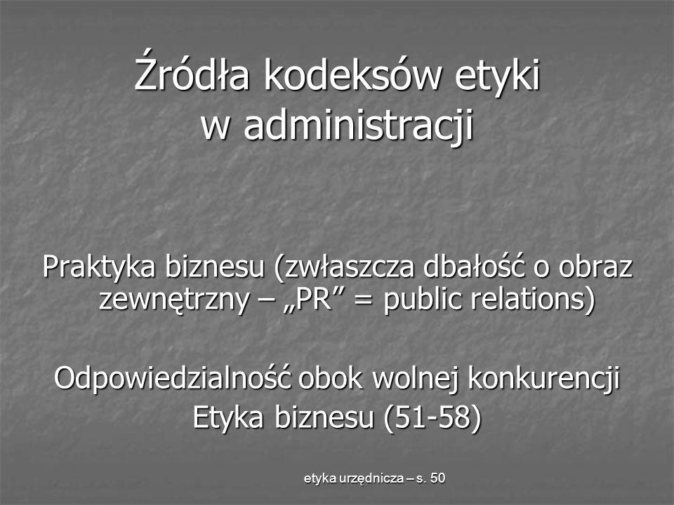 Źródła kodeksów etyki w administracji