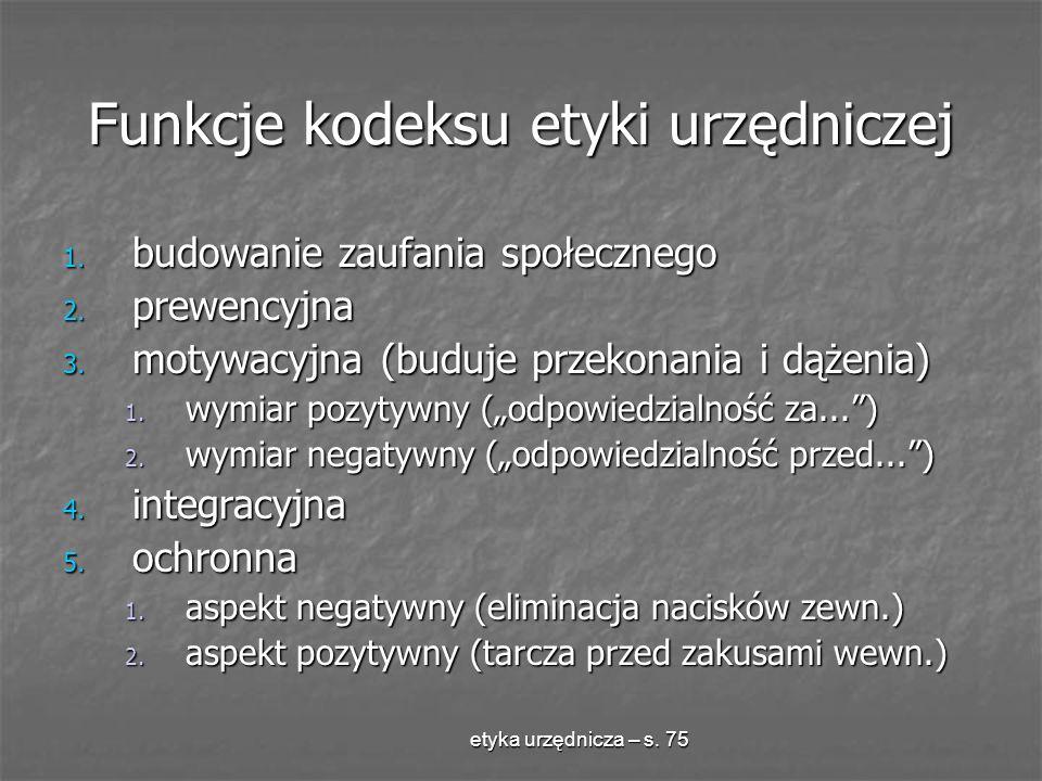 Funkcje kodeksu etyki urzędniczej