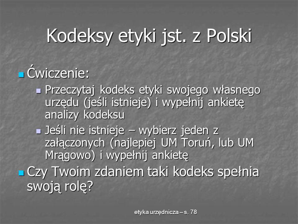 Kodeksy etyki jst. z Polski