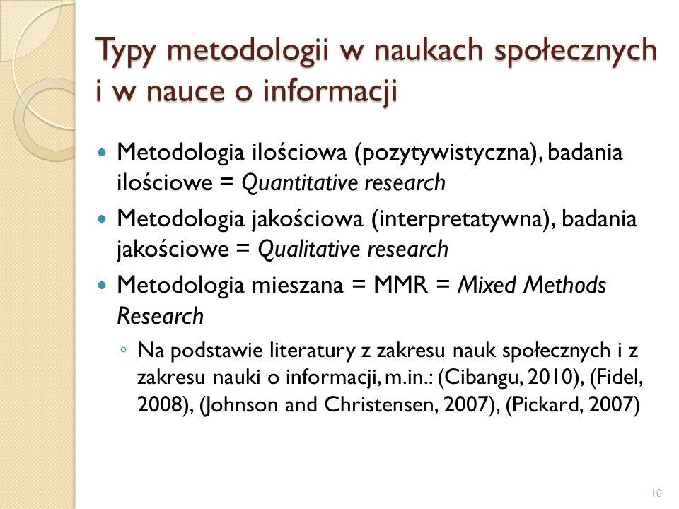 Typy metodologii w naukach społecznych i w nauce o informacji