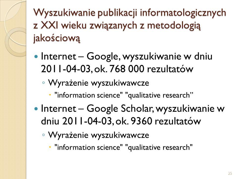 Wyszukiwanie publikacji informatologicznych z XXI wieku związanych z metodologią jakościową