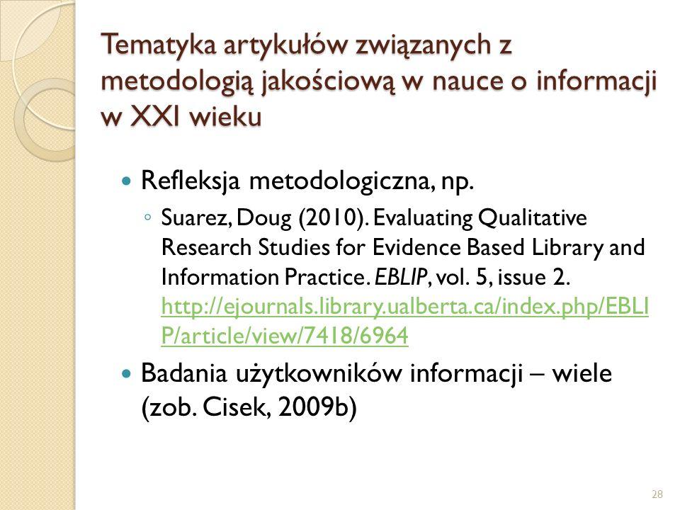 Tematyka artykułów związanych z metodologią jakościową w nauce o informacji w XXI wieku