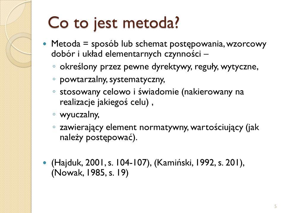 Co to jest metoda Metoda = sposób lub schemat postępowania, wzorcowy dobór i układ elementarnych czynności –