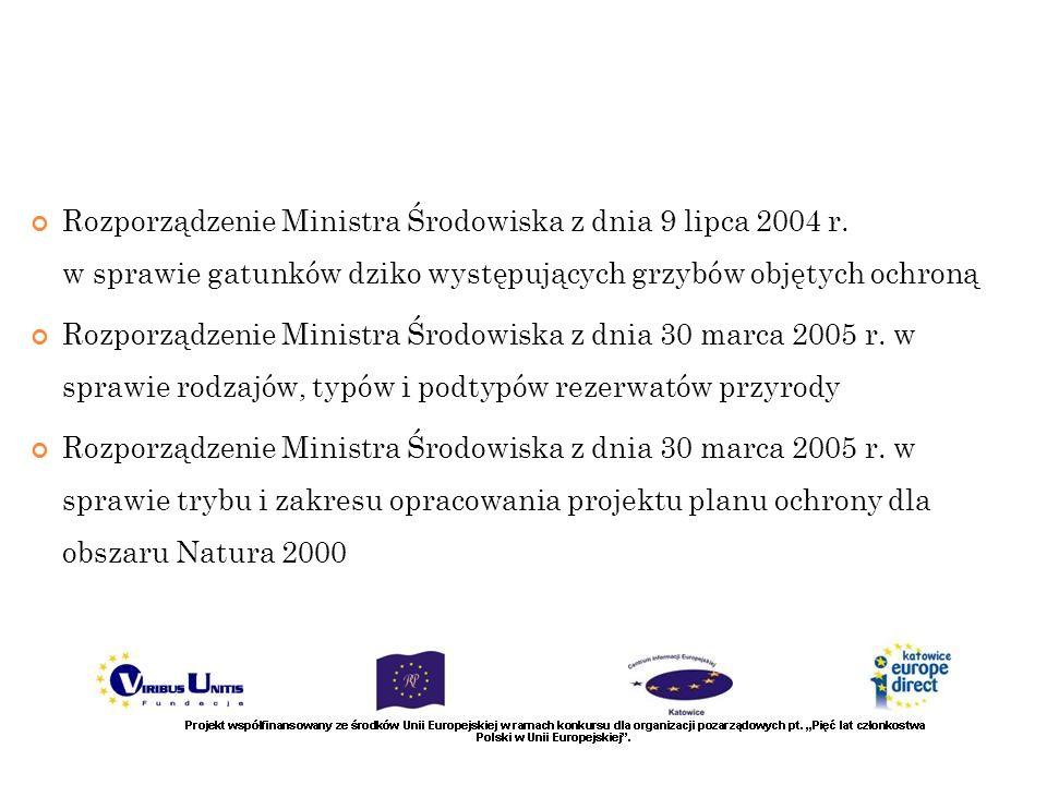 Rozporządzenie Ministra Środowiska z dnia 9 lipca 2004 r