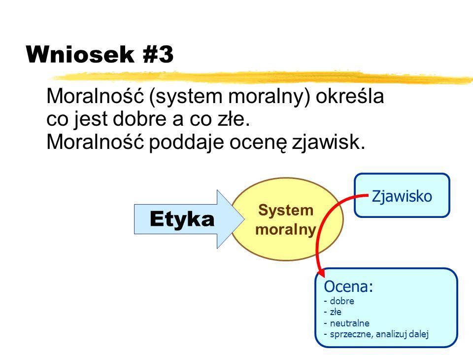 Wniosek #3 Moralność (system moralny) określa co jest dobre a co złe. Moralność poddaje ocenę zjawisk.