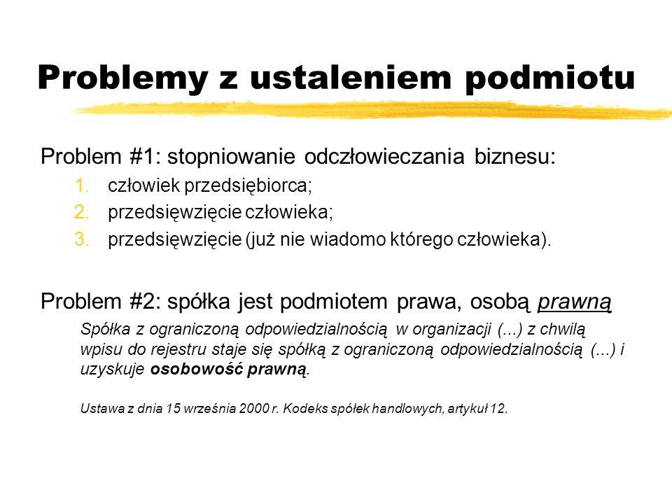 Problemy z ustaleniem podmiotu