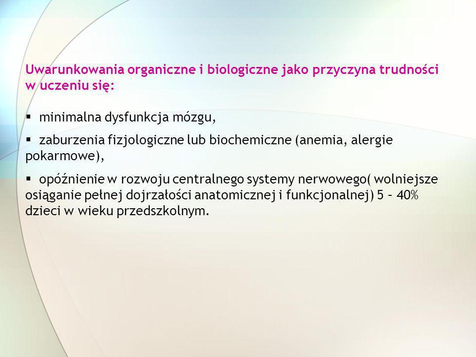 Uwarunkowania organiczne i biologiczne jako przyczyna trudności w uczeniu się: