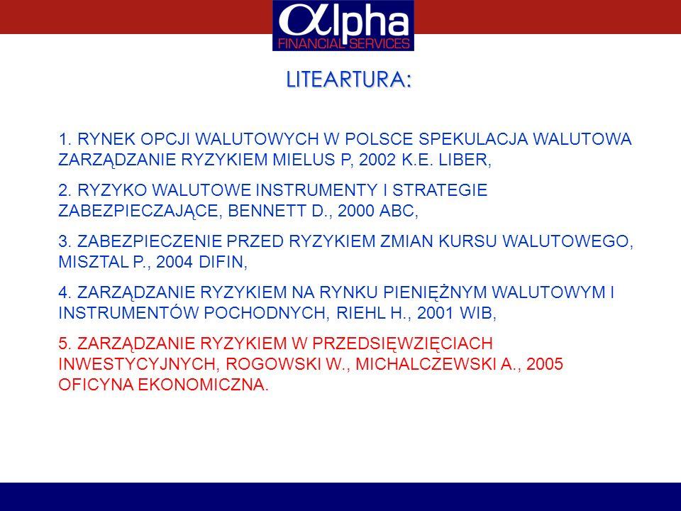 LITEARTURA: 1. RYNEK OPCJI WALUTOWYCH W POLSCE SPEKULACJA WALUTOWA ZARZĄDZANIE RYZYKIEM MIELUS P, 2002 K.E. LIBER,
