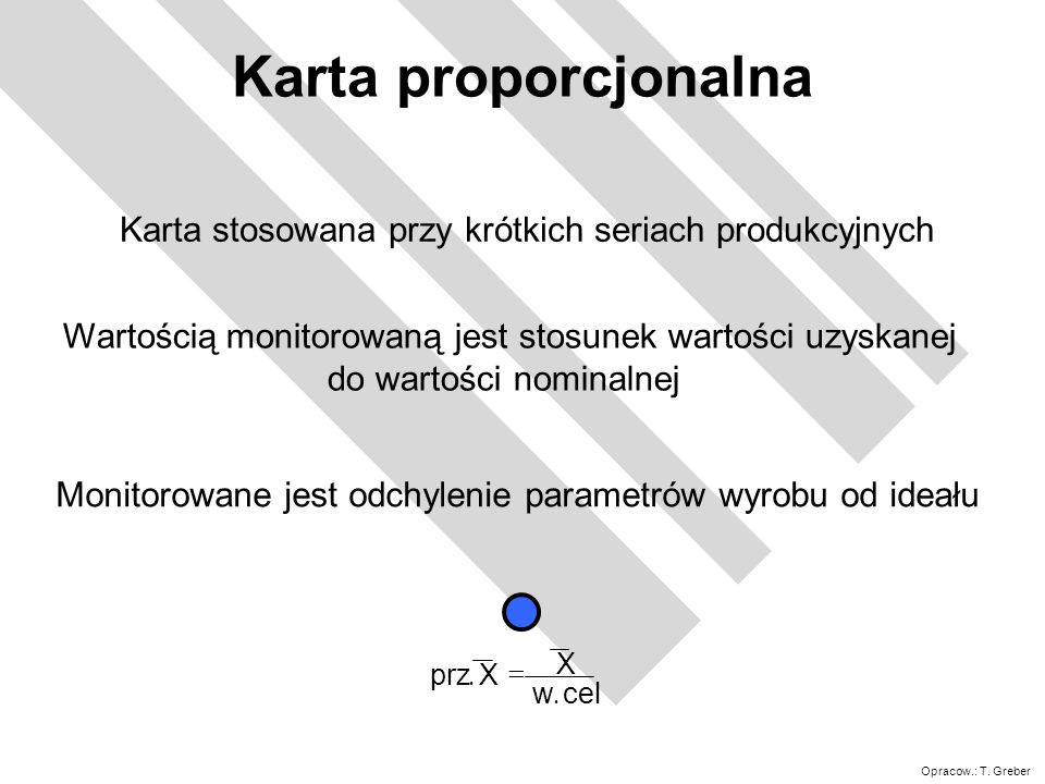 Karta proporcjonalna Karta stosowana przy krótkich seriach produkcyjnych. Wartością monitorowaną jest stosunek wartości uzyskanej.