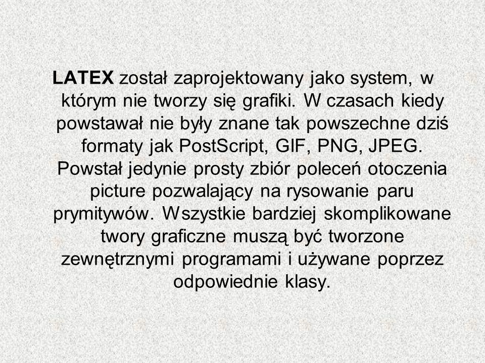 LATEX został zaprojektowany jako system, w którym nie tworzy się grafiki.