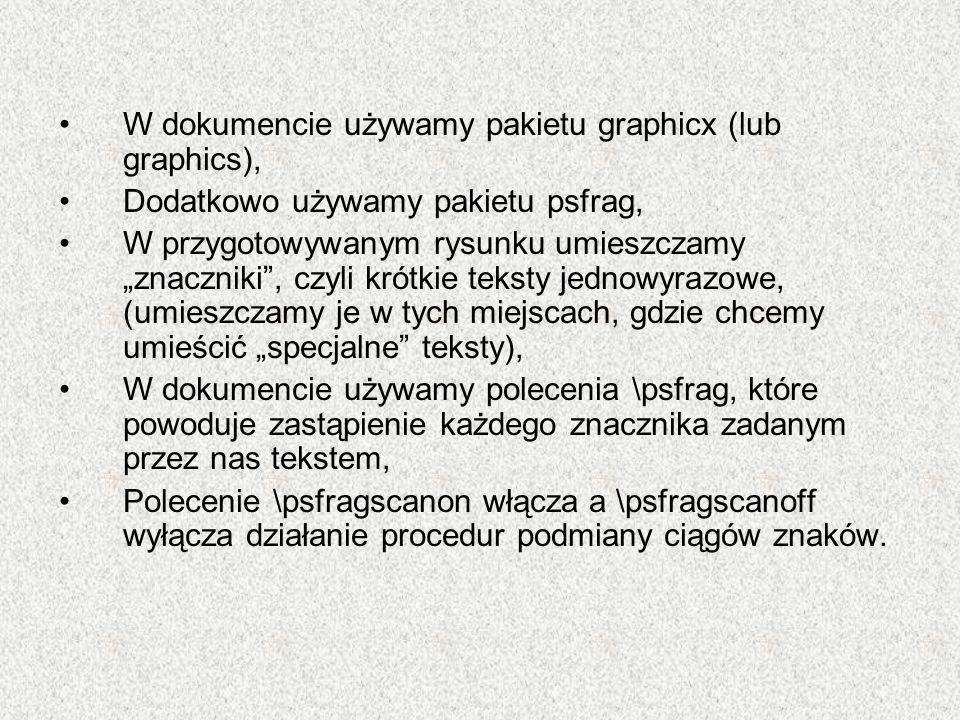 W dokumencie używamy pakietu graphicx (lub graphics),