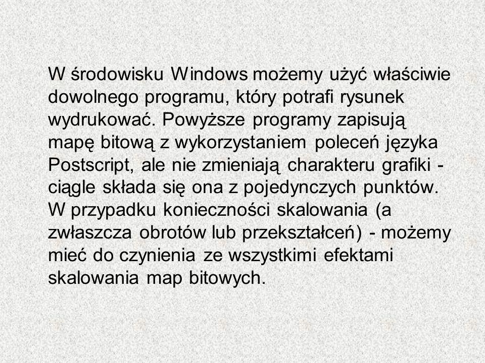 W środowisku Windows możemy użyć właściwie dowolnego programu, który potrafi rysunek wydrukować.