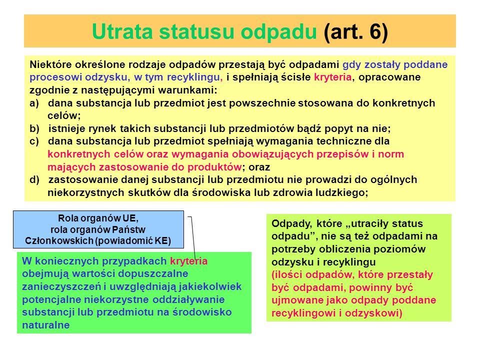 Utrata statusu odpadu (art. 6)