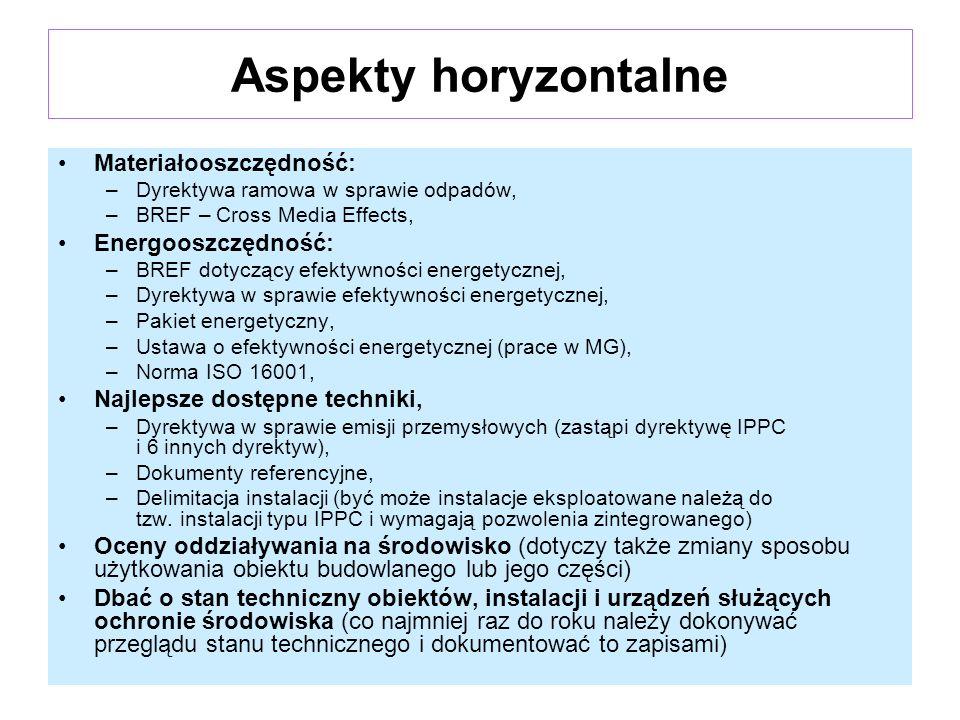 Aspekty horyzontalne Materiałooszczędność: Energooszczędność: