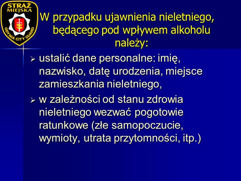 W przypadku ujawnienia nieletniego, będącego pod wpływem alkoholu należy: