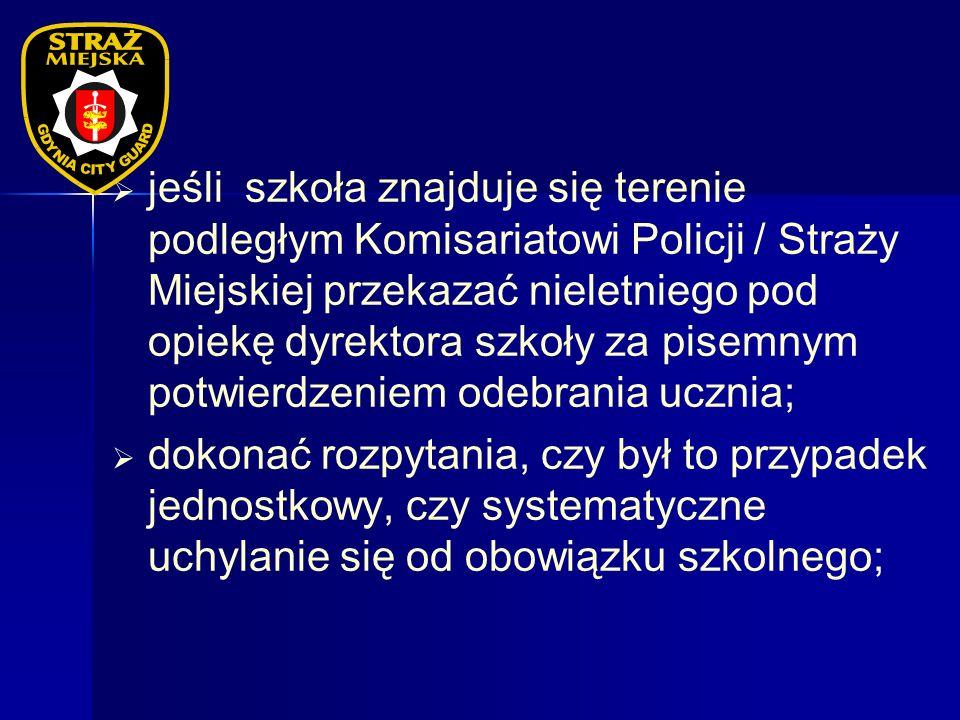 jeśli szkoła znajduje się terenie podległym Komisariatowi Policji / Straży Miejskiej przekazać nieletniego pod opiekę dyrektora szkoły za pisemnym potwierdzeniem odebrania ucznia;