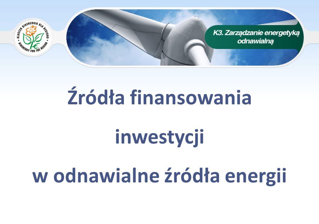 Źródła finansowania inwestycji w odnawialne źródła energii