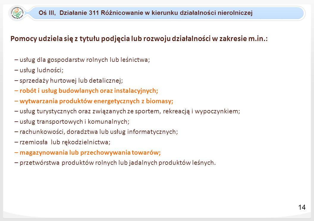Oś III, Działanie 311 Różnicowanie w kierunku działalności nierolniczej