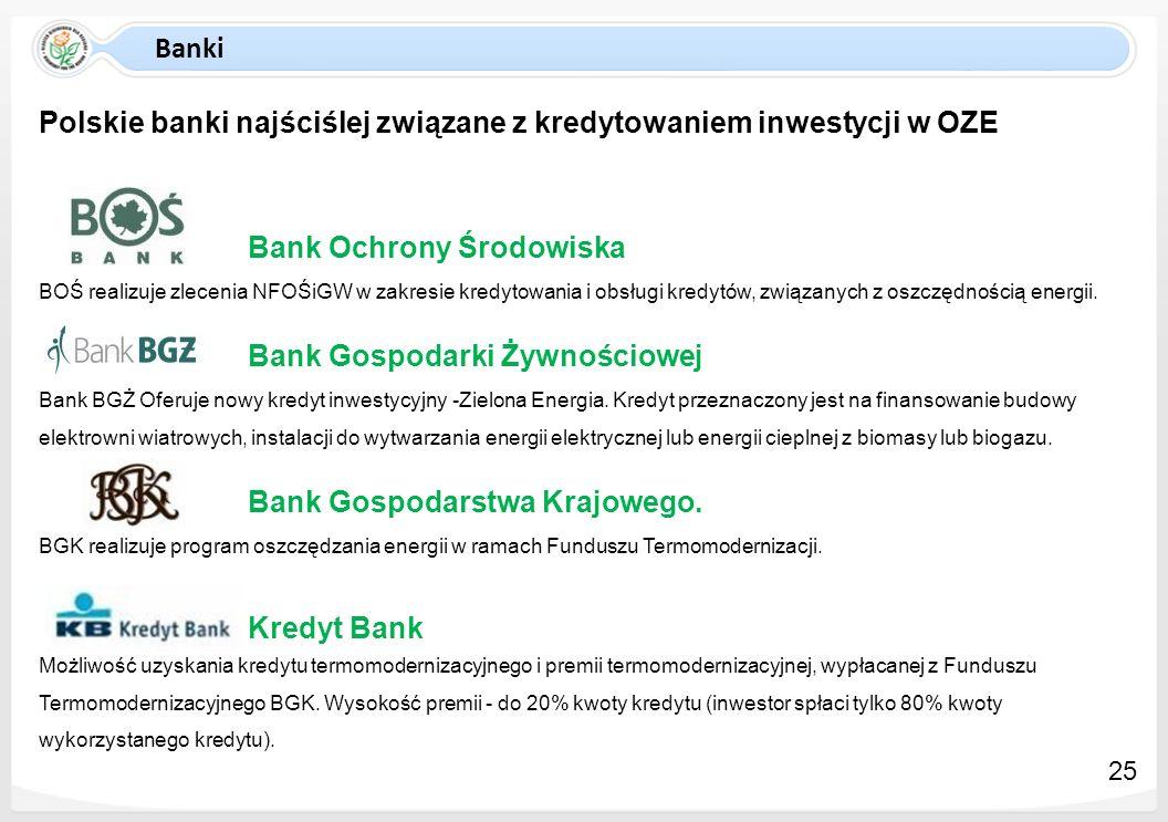 Polskie banki najściślej związane z kredytowaniem inwestycji w OZE